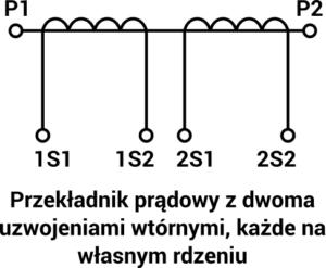 Schemat przekładnika z dwoma uzwojeniami wtórnymi