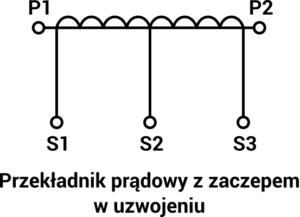 Schemat przekładnika prądowego z zaczepem w uzwojeniu wtórnym