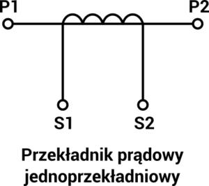 Schemat przekłądnika prądowego jednordzeniowego