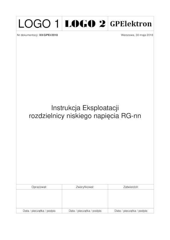 Przykładowa instrukcja eksploatacji - strona tytułowa